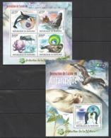 TT081 2012 BURUNDI PROTECTION DE LA NATURE MARINE LIFE EN ANTARCTIQUE 1KB+1BL MNH - Briefmarken