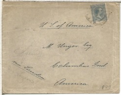 CC A USA SELLOS ALFONSO XIII PELON AL DORSO MAT LLEGADA COLUMBUS INDIANA 1897 TASA - 1889-1931 Reino: Alfonso XIII