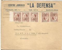 BARCELONA CC A USA SELLOS ALFONSO XIII VAQUER 5 X 2 CTS TARIFA IMPRESOS - 1889-1931 Reino: Alfonso XIII