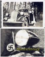 Photo , Ww2 , Oldtimer , Voiture Ancienne  , Auto , Hitler , Croix Gammée , WwII , Wimpel , Fanion , Foto , Reich . - Lieux