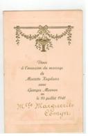 Menu Diner à L'occasion Du Mariage De Mariette Kegelaers Avec Georges Moonen Le 10 Juillet 1941 Antwerpen? - Menus