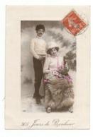 FEMMES - FRAU - LADY - Jolie Carte Fantaisie Portrait Couple - Couples