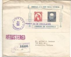 GUATEMALA CC CERTIFICADA A USA UPU QUETZAL AVE UNION POSTAL 1951 - U.P.U.