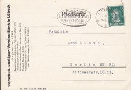 Deutsches Reich VORSCHUSS- & SPAR-VEREINS-BANK In Lübeck Slogan 'Wiesbaden Maifestwoche' LÜBECK 1928 Beethoven - Briefe U. Dokumente