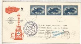 HOLANDA 1958 PRIMER VUELO KLM AMSTERDAM TOKYO VIA POLO NORTE NORTH POLE - Correo Aéreo