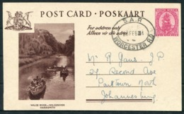 1954 South Africa 1d Wilge River Illustrated Stationery Postcard. S.A.R. Worcester R.O. - Johannesburg. Railway Station - South Africa (...-1961)