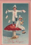 OLD POSTCARD -    EMBOSSED - RELIEF - CHILDREN SITTING ON MUSHROOM  1914 - Postkaarten