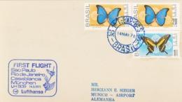 Morpho Melacheilus - 1971 - Papilio Thoas Brasiliensis - Schwalbenschwanz Erstflug Lufthansa - Schmetterlinge - Brazilië