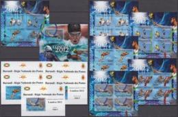 Burundi 15.10.2012 IMPERF Mi #2715-19 In SHEETS & KLEINBOGEN & EDL Bl 267; 2012 London Summer Olympics, MNH OG - Verano 2012: Londres