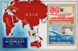 Singapore - 2019 - Centenary Of First Airmail - Mint Souvenir Sheet With Embossing - Singapur (1959-...)