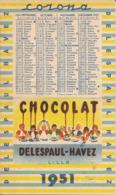 Calendrier Corona  Laitta Chocolat Delespaul Havez 1951 - Small : 1941-60