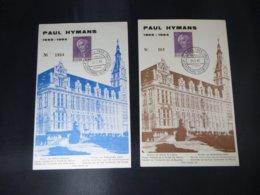 """BELG.1965 1321 FDC Echophil Cards N° 1934 & 161  : """" Paul Hymans  """" - FDC"""