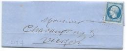 N° 14 BLEU NAPOLEON SUR LETTRE / ISSOUDUN POUR VIERZON / 25 FEV 1862 - Storia Postale