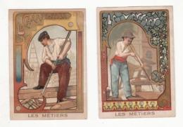 Lot De 2 Chromos   BISCUITS PERNOT   Les Métiers    Verrier, Charpentier    10.5 X 7.2 Cm - Pernot