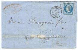 N° 14 BLEU NAPOLEON SUR LETTRE / NANTES POUR CASTRES / 6 MARS 1862 - Marcophilie (Lettres)
