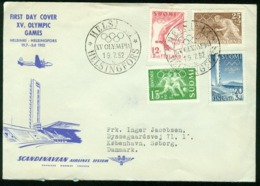 Er Finland, 19.7.1952 XV. Olympic Games, Helsinki | Sent To Denmark (SAS Scandinavian Airlines System) - Covers & Documents