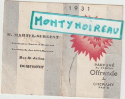 Vieux Papiers:  Orne : Domfront , Calendrier  1931  , Parfumé Au Parfum D ' Offrande De  Cheramy  Paris - Kalenders