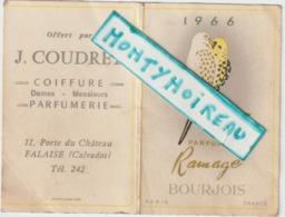 Vieux Papiers:  , Calendrier 1966 , Calvados  Falaise , Coiffure Parfumerie , Bourgeois ,paris , Oiseau - Klein Formaat: 1961-70