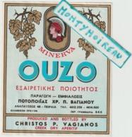 Vieux Papiers:  étiquette  OUZO  Grèce , Apéritif  , Christos  P.  Vagianos  ,minerva - Etiquettes