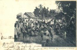 Groupe De Laotiens à Khong RV  Beau Timbre 10c Surchargé Indo Chine - Laos