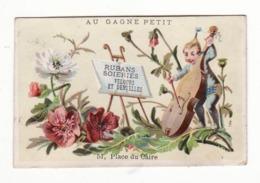 AU GAGNE PETIT   A. SCHULLE   Homme, Violon, Fleurs    11.5 X 7.4 Cm - Duroyon & Ramette