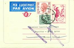 483/30 -- Carte-Lettre Moderne PAR AVION - Tarif 24 F KORTRIJK 1984 Vers BEYROUTH Liban - Griffe Adresse Insuffisante - Cartas-Letras