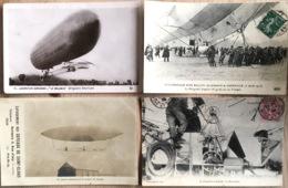 4 Good ZEPPELIN Postcards 2 RPPC Lunéville, Baldwin, Lebaudy, Santos-Dumont 4 Cpa Dirigeables - Dirigeables