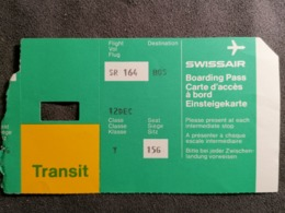 Old Heavy Paper Boarding Pass SWISSAIR Cca 1960's Airwais Airport - Instapkaart