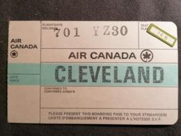 Old Heavy Paper Boarding Pass AIR CANADA Cleveland Cca 1960's Airwais Airport - Instapkaart