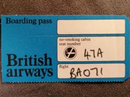 Old Heavy Paper Boarding Pass BRITISH AIRWAYS Cca 1960's Airwais Airport - Instapkaart