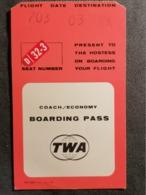 Old Heavy Paper Boarding Pass TWA AIRLINES Cca 1960's Airwais Airport - Instapkaart