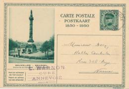 491/30 -- Entier Illustré Képi 35 C. ANNEVOIE 1930 Vers NAMUR - Expéd. Warnon , Curé à Annevoie - Ganzsachen