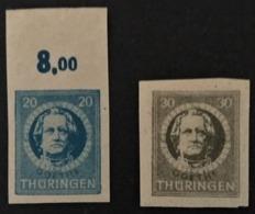 1945 Thüringen Johann Wolfgang Von Goethe Ungezähnt,Spargummierung Mi. 98BY - 99BY**) - Sowjetische Zone (SBZ)