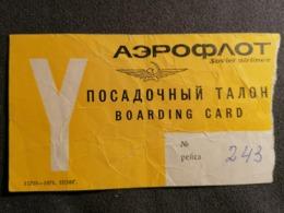 Old Heavy Paper Boarding Pass AEROFLOT SOVIET AIRLINES Cca 1970's Airwais Airport - Instapkaart