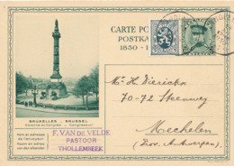 492/30 -- Entier Illustré Képi 35 C.THOLLEMBEEL 1930 Vers MECHELEN - Expéd. Van De Velde , Pastoor Te Thollembeek. - Stamped Stationery