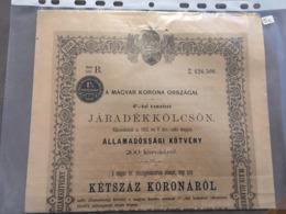 LOT DE 2 ACTIONS HONGRIE HUNGARI A MAGYAR KORONA ORSZAGAI 1902 - Other