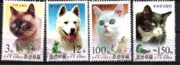 Lot Série 4 TP - N° 3192 à 3195 - OB -chats Et Chien - Korea (Nord-)