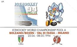 *ITALIA: PRIVATA RESA PUBBLICA - ICE HOCKEY '94* - Scheda Usata (bilingue) - Private-Omaggi