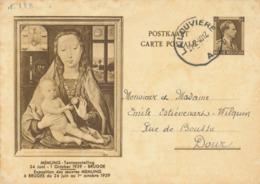 """496/30 -- Entier Illustré Col Ouvert  """"Memling""""  LA LOUVIERE 1940 Vers DOUR - Ganzsachen"""