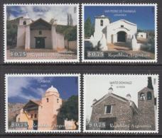 1998 Argentina Historic Chapels Architecture Complete Set Of 4  MNH - Argentinien