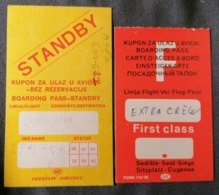 Old Heavy Paper LOT Of 2 Boarding Pass JAT YUGOSLAV AIRLINES  Cca 1960's Airwais Airport - Instapkaart