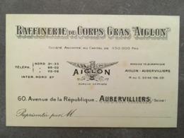CARTE PUB RAFFINERIE DE CORPS GRAS AIGLON 60 RUE DE LA REPUBLIQUE AUBERVILLIERS SEINE - Frankreich