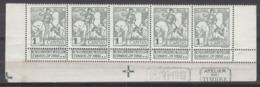 "Belgium  84  XX (MNH) Strip Van Vijf Met DEPOT 1910 En ""atelier Du Timbre""  Cote 25,00 Euro - 1910-1911 Caritas"