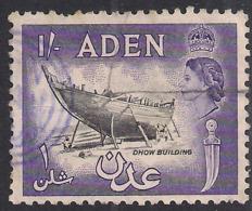 Aden 1953 - 63 QE2 1/-d Black & Violet Used SG 63 ( J1303 ) - Aden (1854-1963)