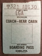 Old Heavy Paper Boarding Pass DELTA AIR LINES  Cca 1960's Airwais Airport - Instapkaart