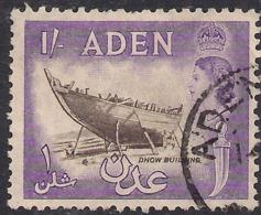 Aden 1953 - 63 QE2 1/-d Sepia & Violet Used SG 62 ( J1436 ) - Aden (1854-1963)
