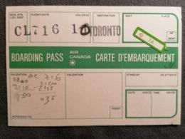 Old Heavy Paper  Boarding Pass AIR CANADA  Cca 1960's Airwais Airport - Instapkaart