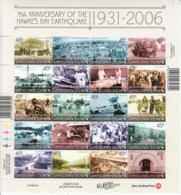 2006 New Zealand Hawkes Bay Earthquake Health Red Cross Aviation Bicycle Miniature Sheet Of 20  MNH @ BELOW FACE VALUE - Blocchi & Foglietti