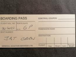 Old Heavy Paper  Boarding Pass General Aviation Service Ltd. Cca 1960's Airwais Airport - Instapkaart