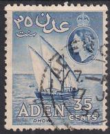 Aden 1953 - 63 QE2 35ct Deep Ultramarine Dhow Used SG 56 ( J1206 ) - Aden (1854-1963)